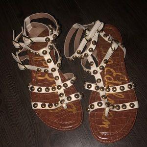 White stud gladiator sandals